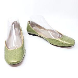 Talbots Green Gold Reptile Print Ballet Flats 8.5